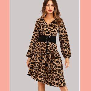 Dresses & Skirts - Leopard Asymmetrical Corset Dress